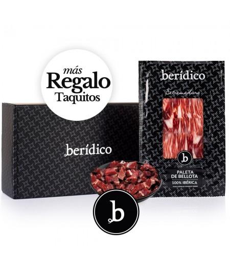 Comprar estuche Paleta de bellota 100% Ibérica cortada a mano 18 sobres de Beridico en www.jamonypico.com