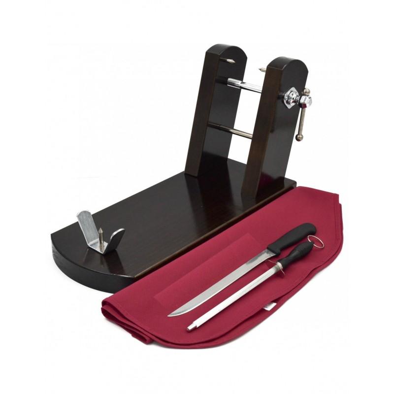 Jamonero premium de madera, cuchillo, afilador y funda para tu jamon en www.jamonypico.com